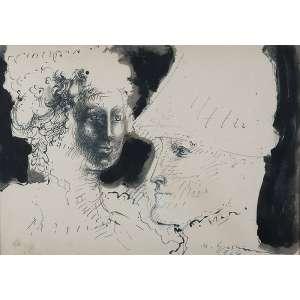 "MARCELO GRASSMANN - ""Dama e cavalheiro"" -Nanquim e guache sobre papel. Ass.dat.1966 inf. dir. - 49 x 70 cm"