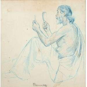 """HENRIQUE BERNADELLI - """"Figura masculina"""" - Desenho a lápis de cor -Ass. no centro inf. - 26 x 26 cm"""