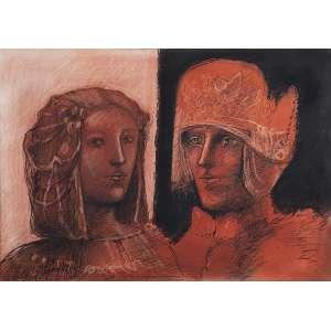 """MARCELO GRASSMANN - """"Dama e cavalheiro"""" - Técnica mista sobre papel. Ass.dat.1984 no centro. - 49,5 x 70 cm"""
