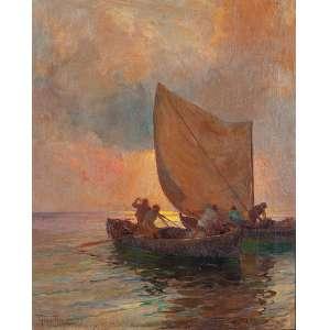 """BIGIO GERARDENGHI - """"Pescadores"""" - Óleo sobre tela - Ass. inf. esq. - 62 x 51 cm"""