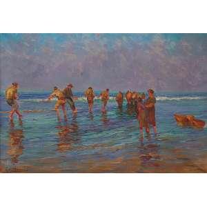 """BIGIO GERARDENGHI - """"Pescadores"""" - Óleo sobre tela - Ass. inf. esq. - 48 x 70 cm"""
