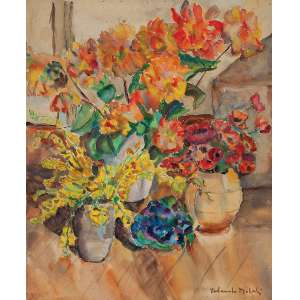 """YOLANDA MOHALYI - """"Vasos com flores"""" - Aquarela - Ass. inf. dir. - 59 x 49 cm"""