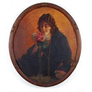 """EUGÊNIO LATOUR - """"Mulher e flores"""" - Óleo sobre tela - Ass. dat.1929 centro sup. esq. - 93 x 80 cm"""
