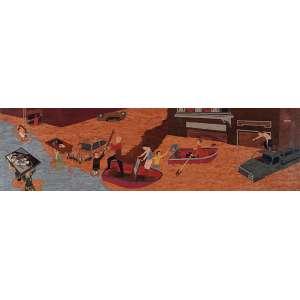 """SEBASTIÁN GORDIN - """"Los Angeles Del Fango"""" - Óleo sobre madeira. Edição 2/3 - Ass.tit.dat. 2011 no verso. - 34 x 120 cm"""