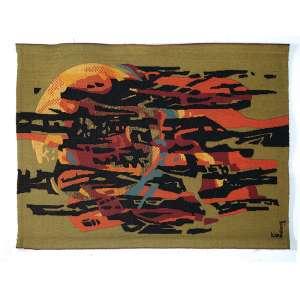"""AUTOR NÃO IDENTIFICADO - """"Abstração"""" - Tapeçaria Francesa - Ass. inf. dir. - 110 x 150 cm - Com etiqueta da JP Paris e Atelier Des Flandres."""