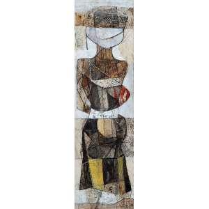 """KARL PLATTNER - """"Sem título"""" - Técnica mista sobre papel -Ass.dat.1952 inf. dir. - 44 x 12,5 cm"""