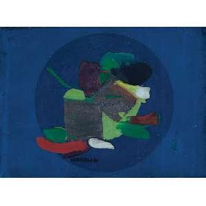"""MARIA POLO - """"Opus"""" -Óleo e prata sobre linho -Ass.dat.1967 no centro. - 16 x 22 cm"""