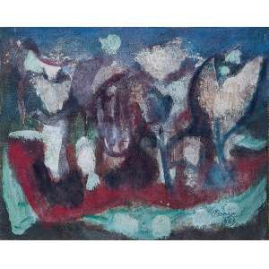 """HENRIQUE BOESE - """"Sem título"""" - Óleo sobre tela - Ass. dat.1968 inf. dir. - 32,5 x 40 cm - Com etiqueta da Comphia Artes."""