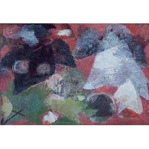 """HENRIQUE BOESE - """"Sem título"""" - Óleo sobre madeira - Ass. no verso. - 36 x 55 cm - Com vestígio de etiqueta da Bienal"""
