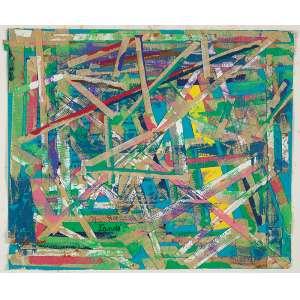"""NIOBE XANDÓ - """"Sem título"""" - Acrílica e colagem sobre papel. Ass.dat.1982 inf.esq. - 20,5 x 24,5 cm"""