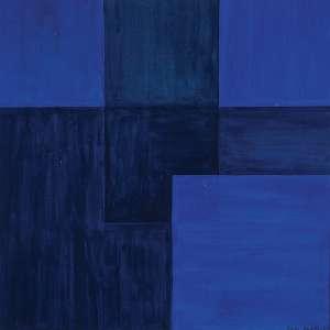 """RAUL PORTO - Desenho 1962 quadrados azuis"""" - Guache sobre cartão - Ass.dat. 1962 inf. dir, ass. tit. loc.""""Campinas"""" dat. Janeiro 1962 no verso. - 30 x 30 cm"""