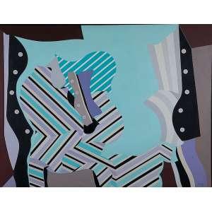 """EDUARDO SUED - """"Sem título"""" - Óleo sobre eucatex -Ass.dat.1968 inf. dir,ass.dat. no verso. - 105 x 136 cm"""
