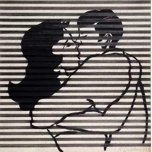 """RUBENS GERCHAMN - """"O beijo"""" - Óleo e guache sobre papel - Ass.dat.1977 inf. dir. - 50,5 x 50,5 cm"""