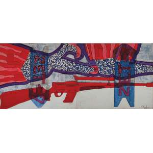 GILBERTO SALVADOR - Zet 7 - Zet 8 - (Díptico) - Tinta plástica sobre madeira. Ass.dat.1967 inf. dir. - 70 x 60 cm (Total: 70 x 120 cm)