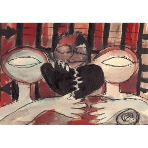 """REGINA VATER - """"Sem título"""" - Nanquim e aquarela sobre papel. Ass.dat.1961 e loc. """"Rio"""" inf. esq. - 23 x 33 cm"""