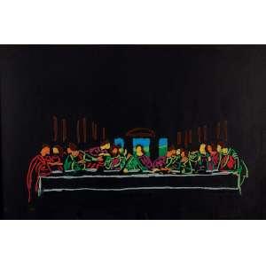 """NELSON LEIRNER - """"Sem título"""" - Guache sobre cartão e pintura sobre vidro - Ass.dat.1990 no centro. - 44 x 57 cm"""