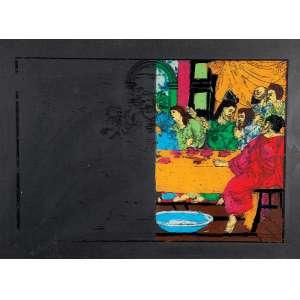 """NELSON LEIRNER - """"Sem título"""" - Guache sobre cartão e pintura sobre vidro - Sem assinatura. - 55 x 75 cm"""
