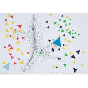 """FERREIRA GULLAR - """"Tornado"""" - Desenho a caneta e colagem sobre papel. Ass.dat.2007 centro inf. e tit. inf. esq. - 20 x 29 cm"""