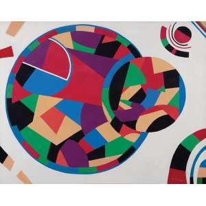 """NIOBE XANDÓ - """"Geométrico XIV/ O Balão"""" - Acrílico sobre tela. Ass. inf. dir., ass. no verso - C.1985. - 74 x 92 cm - Catalogada sobre nº NX01I00/0812. Reproduzido na pág 86 do livro da artista """"A Arte de Subverter a Ordem das Coisas II"""""""