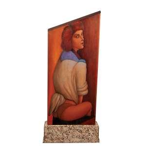 """JOÃO CÂMARA - """"Mulheres seminuas"""" - Objeto - pintura frente e verso. Óleo sobre madeira - Ass.dat.1999 inf. dir. - 102 x 45 cm"""