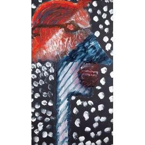 """ARTUR BARRIO - """"Figura de perfil"""" - Óleo sobre tela - Ass.dat.1985 no verso. - 106 x 60 cm"""