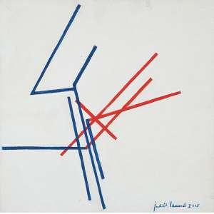 """JUDITH LAUAND - """"Sem título"""" - Óleo sobre tela - Ass.dat.2005 inf. dir, nº acervo 437 no verso. - 30 x 30 cm - Com fotografia da obra com a artista"""