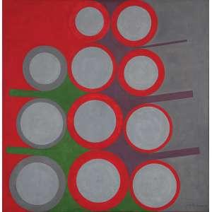 """JUDITH LAUAND - """"Sem título"""" - Tempera sobre tela. Ass.dat.1967 inf. dir, ass.dat. e nº acervo 237 no verso. - 75 x 75 cm - Reproduzido pág. 46 do catalogo de exposição da artista """"Experiências"""" no Museu de Arte Moderna MAM de São Paulo de 21/01 a 03 /04 / 2011 curadoria Celso Fioravante"""
