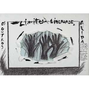 """ANÉSIA PACHECO - """" Os Outros - Limites a Liberdade - A vida"""" - Desenho a caneta e guache sobre papel colado cartão . - 72 x 101 cm - Reproduzido nas páginas 14 e 15 do livro da artista """"Desenhos Palavras""""."""