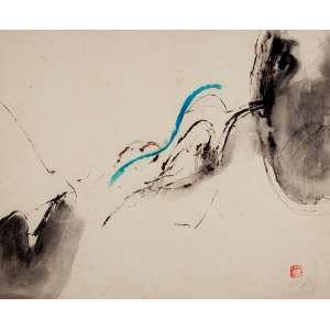 """WESLEY DUKE LEE - """"Sem título""""- Nanquim e guache sobre papel -Déc. 60. Ass. inf. dir. - 37 x 46 cm"""