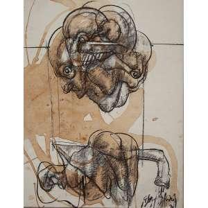 """FLÁVIO SHIRÓ - """"Café grafia"""" - Técnica mista sobre papel -Ass. inf. dir, ass.dat.1979 loc. """"Paris"""" com dedicatória no verso. - 67 x 52 cm - Reproduzido no livro da coleção Kim Esteve."""