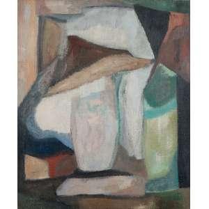 """BONADEI - """"Natureza morta"""" - Óleo sobre tela - Ass.dat.1966 inf. esq. - 65 x 54 cm - Com etiqueta do II Salão de Arte Contemporânea de Campinas."""