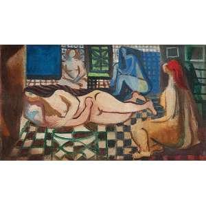 """DI CAVALCANTI - """"Mulatas na sala"""" - Óleo sobre tela -Ass. dat.1965 no inf. esq. - 20 x 34 cm - Com certificado de autenticidade Hilda Araújo e Paulo Petrarca Escritório de Arte."""