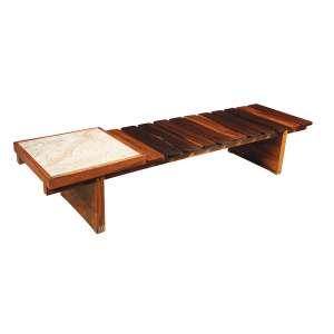 FÁ FATIMA - Banco em jacarandá com mesa de mármore na lateral. Déc.60. - 40 x 200 x 56 cm