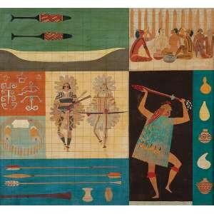 """CARYBÉ - Estudo para painel """"Os Tupinambás"""" Técnica mista e óleo sobre eucatex - Ass. inf. dir. - 41 x 45 cm - Painel em mosaico no Ed. Tupinambá reproduzido na pág 204 do livro do artista, Edição Bruno Furrer 1989."""