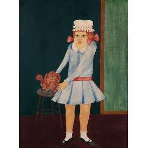 """SONYA GRASSMANN - """"Menina com cachorro"""" - Óleo sobre madeira - Ass. lat. esq. - 39 x 29 cm"""