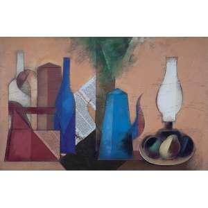 """CARLOS SCLIAR - Natureza morta com bule azul, etc, etc"""" - Vinil e colagem encerado sobre tela - Ass. tit. loc. """"Cabo Frio"""" e dat. 1985 no verso - 65 x 100 cm - Com etiqueta da Gil Studio de Arte."""