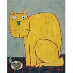 "GUSTAVO ROSA - ""Gato amarelo"" - Óleo sobre tela - Ass.dat.1990 inf. dir, ass.dat. no verso. - 50 x 40 cm"