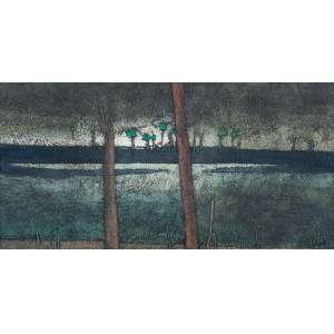 """INOS CORADIN - """"Paisagem"""" - Óleo sobre eucatex. Ass. inf. dir. - 26 x 51 cm"""