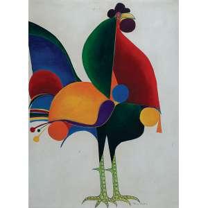 """ALDEMIR MARTINS - """"Galo"""" - Óleo sobre tela - Ass. inf. dir., ass.dat. 1971 no verso. - 81 x 60 cm"""