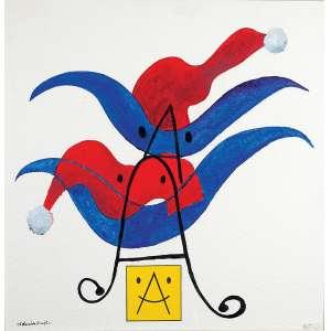 """ALDEMIR MARTINS - """"Sem título"""" - Guache e colagem sobre papel sobre eucatex. Ass. inf. esq. - 72 x 72 cm - Está obra é doação para Casa de Davi."""