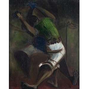 """CLÓVIS GRACIANO - """"Homens lutando"""" - Óleo sobre madeira - Ass.dat.1948 inf. esq. - 39 x 30 cm"""