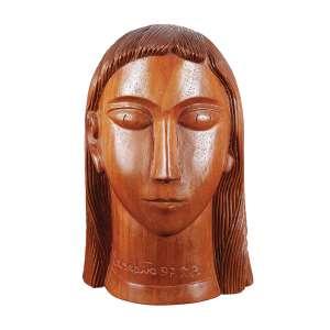 """MESTRE EXPEDITO - """"Cabeça de moça"""" - Escultura em madeira -Ass. loc. """"T. PI"""" e dat.1997. - 27 cm"""