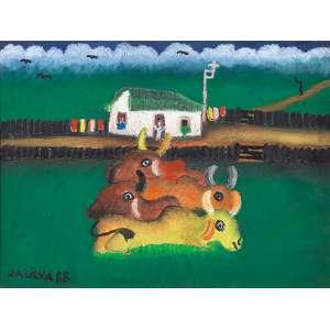 """JOSÉ ANTÔNIO DA SILVA - """"Fazenda e bois"""" - Óleo sobre tela - Ass.dat.1988 inf. esq. ass.dat, no verso. - 30 x 40 cm"""