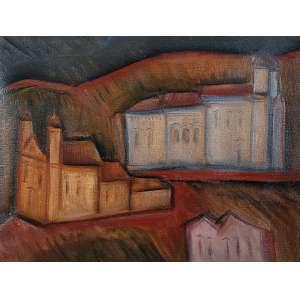"""CARLOS BRACHER - """"Duas igrejas"""" - Óleo sobre tela -Ass. inf. esq., ass. tit. dat.1986 e loc. """"Ouro Preto"""" no verso. - 46 x 61 cm"""