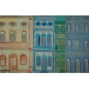 """CARLOS BASTOS - """"Fachadas"""" - Óleo sobre tela - Ass.dat.1964 inf. esq. - 60 x 91 cm"""