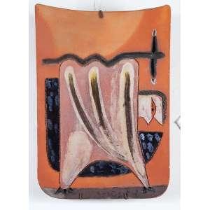 """MIGUEL DOS SANTOS - """"Sem título"""" - Placa de cerâmica esmaltada. Ass.dat.1974 lat.dir. - 24 x 33,5 cm"""