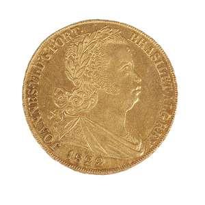 Moeda de ouro Portugal (6400 réis) datada de 1822, pesando 14,34g em perfeitas condições muito bom estado.