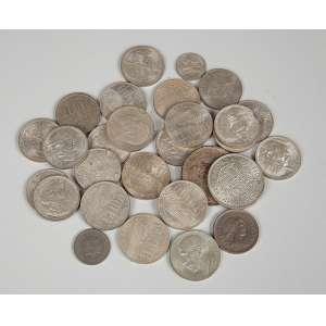 Lote com 28 moedas de prata e metal Séc. XIX/XX - brasileiras americanas peso total 257g.