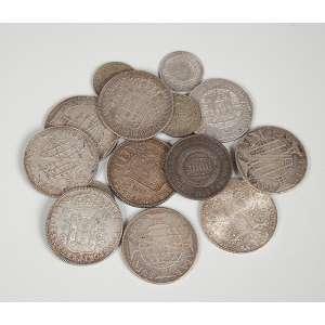 Lote de moedas brasileiras em prata sendo 4 moedas de 960 reis sendo 1 de 1811,1816,1818 e 1822, 1 moeda de prata de 1780 Mª Theresa, 4 moedas de 960 réis sendo 1810,1811,1815 e 1818, 4 moedas de 2000 réis Séc. XX, e 1 moeda de 2000 reis de 1855 e 1 de 160 reis de 1818R. peso total 305g.