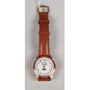 MOVADO relógio em ouro rosê 18K com triplo calendário e fase da lua á prova d'água com tampa de rosca funcionando masculino, mostrador repintado.